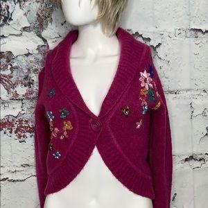 Miu Miu floral crop shrug sweater cardigan 36 or S